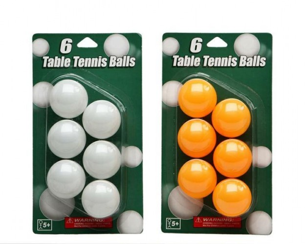 BLISTER 6 PALLINE PING PONG COLORI